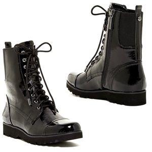 Donald J. Pliner Carmen Patent Leather Combat Boot
